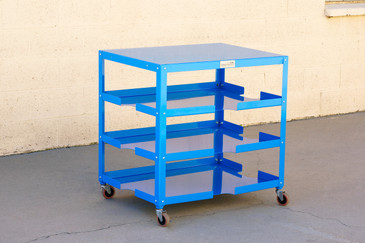 SOLD - Industrial Paper, Board and Utility Rolling Cart, Refinished in Blue