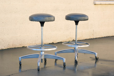 Pair of 1960s Chromcraft Atomic Stools, Refinished
