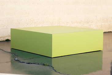 SOLD - Large Retro 1970s Retail Display Pedestal, Split Pea Green