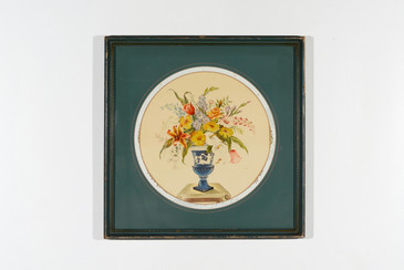 SOLD - Classical Floral Print with Overpainted Glass, 1960s, Free U.S. Shipping