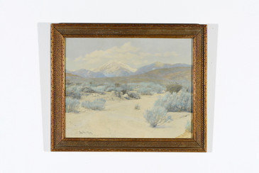 SOLD - Antique Overpainted Landscape Print in Frame, Signed