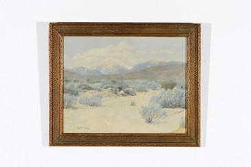 Antique Overpainted Landscape Print in Frame, Signed