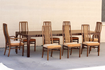 SOLD - 1960s Double-Leaf Dining Table with Eight Chairs by DREXEL