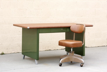 SOLD - 1940s Shaw Walker Panel Leg Tanker Table, Refinished in Army Green, Rare