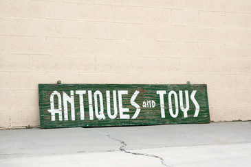 Extra Large Sign From Antiques and Toys Storefront, Hand-Painted