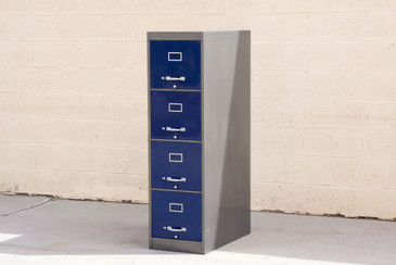 1960s 4-Drawer Vertical Filing Cabinet, Refinished in Two-Tone Blue and Grey