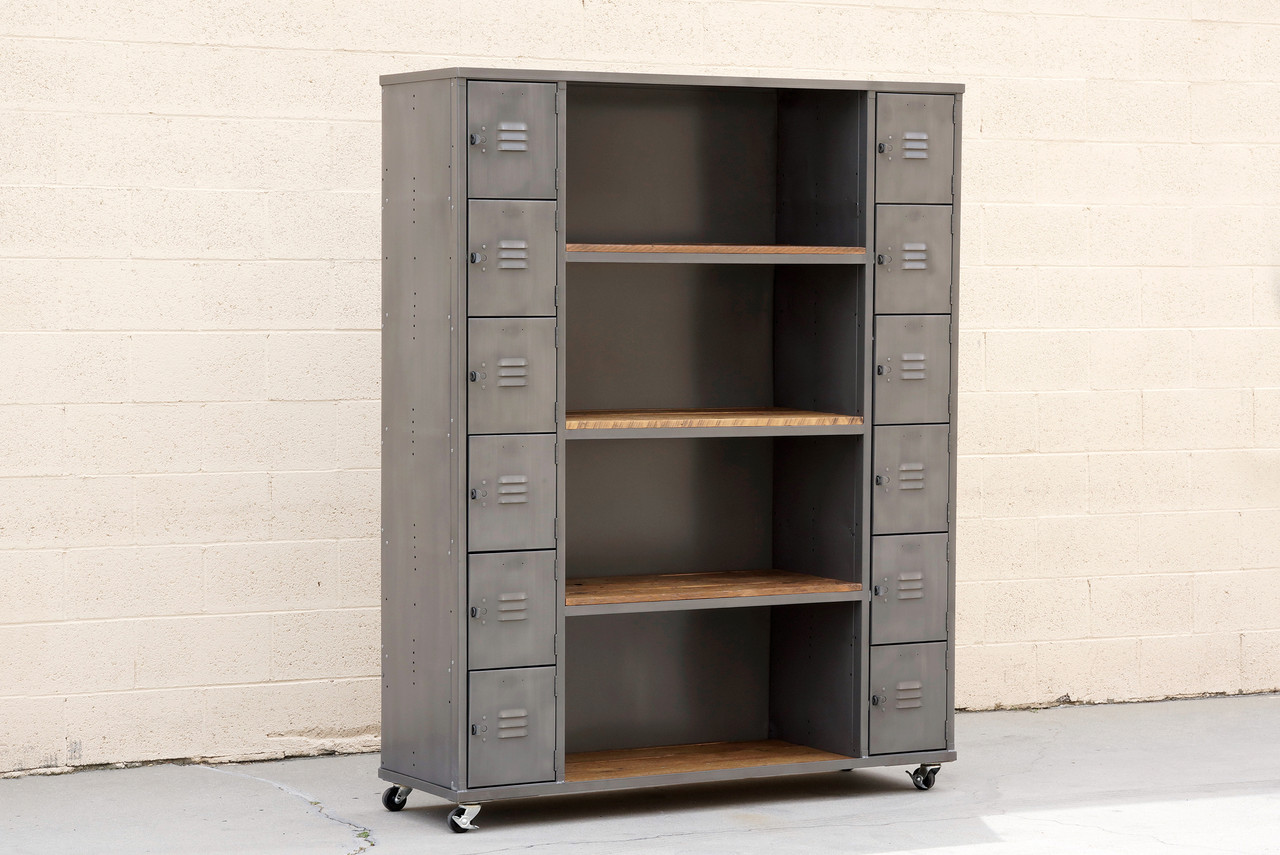 Two Column Wood Steel Locker And Shelf Unit Custom Order