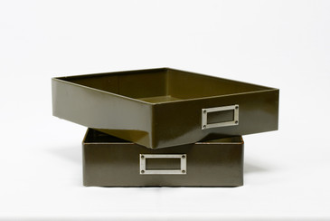 Pair of 1940s Metal Drawer Inserts Repurposed as Memo Trays, Free Shipping