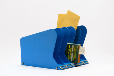 SOLD - Atomic Desktop Memo/ File Holder, Refinished in Blue, Free Shipping