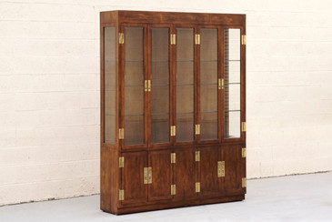 "SOLD- 1970s ""Campaign Series"" Modern China Cabinet by Henredon"