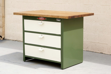 SOLD - 1960s Cabinet by NUARC Graphic Arts Eqpt., Refinished Steel and Reclaimed Wood Top