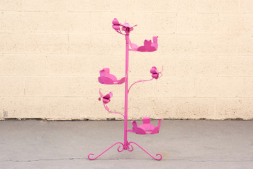 SOLD - 1950s Steel Rosebud Plant Stand, Refinished in Pink