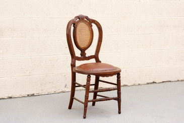 SOLD - Antique Victorian Side Chair with Cane Back, Refinished