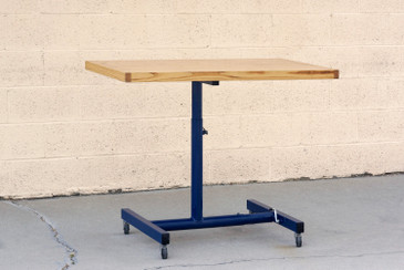 Vintage Industrial Standing Desk, Refinished in Midnight Blue