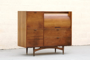 SOLD - Mid Century Modern Tambour Roll Top Desk by Hooker Furniture