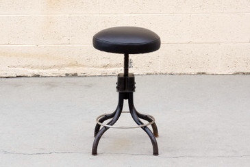 Machine Age Industrial Shop Stool Refinished in Black on Black, Free Shipping