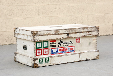 1960s Split Level Storage Trunk with Iconic Patina, Large, Free U.S. Shipping