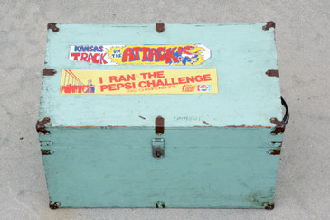SOLD - Vintage Wood Trunk with Retro Bumper Stickers, Free U.S. Shipping
