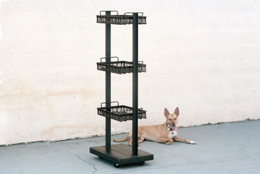 Custom Built Steel Display Rack with Vintage Machine Age Baskets