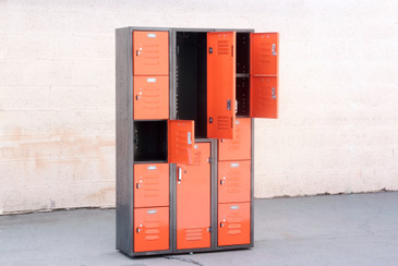 Vintage Worley Locker Unit with Vertical and Cubby Storage