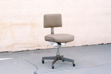 "SOLD - 1970s Steelcase ""Bassick"" Steno Desk Chair, Refinished in Leather, Free U.S. Shipping"
