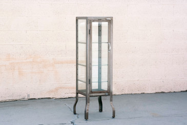 SOLD - Vintage Glass and Steel Pharmacy Style Display Cabinet, Free U.S. Shipping