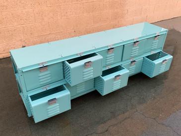 Custom 5 X 2 Locker Basket Unit in Monochrome Sea Foam Green