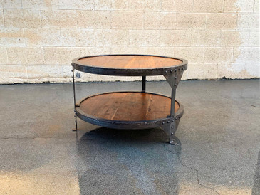 SOLD - Steampunk Steel and Wood Round Side Table, Free U.S. Shipping