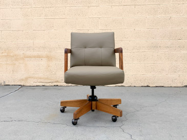 Leather and Oak Executive Office Chair by Gordon Mfg Co., Free U.S. Shipping