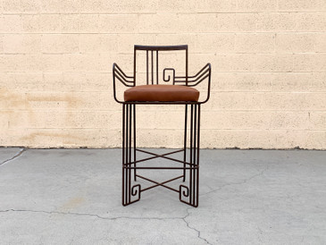 Biltmore Wrought Iron Art Deco Revival Stool by Marina McDonald Jazz Furniture, Free U.S. Shipping