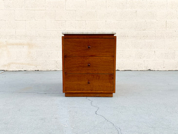 Walnut and Italian Marble Modern Cabinet Side Table with Drawers, Free U.S. Shipping