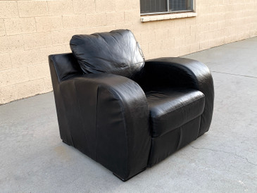 Art Deco Revival Oversized Leather Club Chair,  Free U.S. Shipping