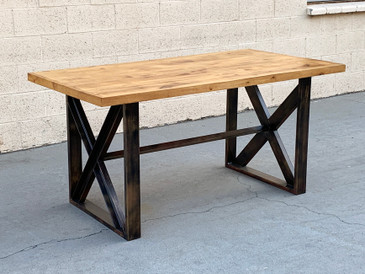 Custom Dining Table with Burnt Golden Patina and Plank Wood, Free U.S. Shipping