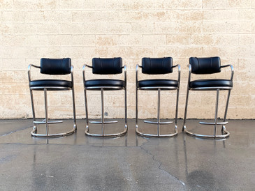 SOLD - Set of 4 Tubular Chrome Counter Stools by Jazz Furniture, 1980s Deco Revival