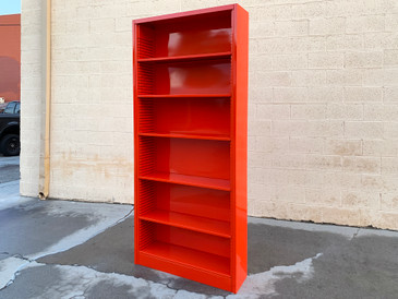 1970s Tall Steel Tanker Bookcase in Safety Orange, Custom Refinished to Order