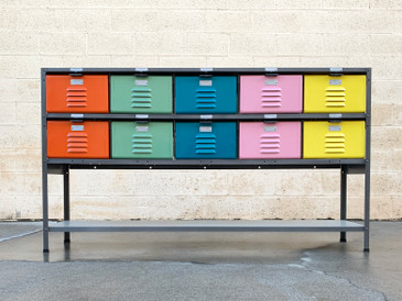 Custom Made 5 X 2 Locker Basket Unit With Multicolored Drawers and Shelf