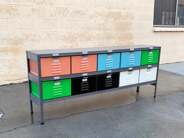 Custom Made 5 X 2 Locker Basket Unit With Bright Multicolored Drawers