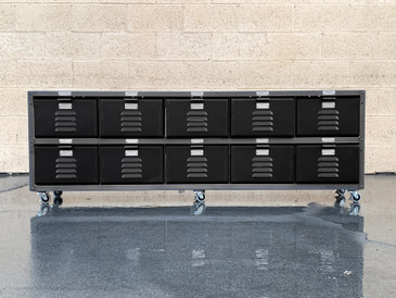Custom 5 x 2 Locker Basket Unit in Matte Black and Natural Steel