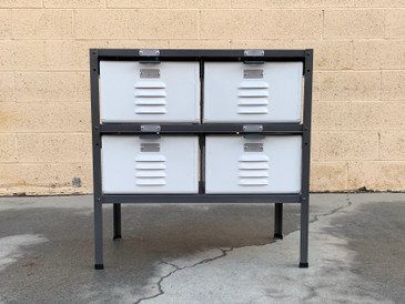 Custom Made 2 x 2 Locker Basket Unit in Gloss White and Natural Steel