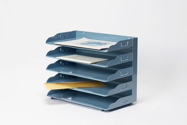 """SOLD - 1940s """"Scalloped"""" Desktop File Organizer Refinished in Sky Blue, Free U.S. Shipping"""