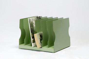1940s Desktop Memo/ File Holder, Refinished in Sage Green, Free U.S. Shipping