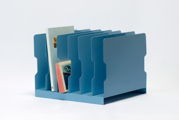 SOLD - 1940s Desktop Memo/ File Holder, Refinished in Sky Blue, Free U.S. Shipping