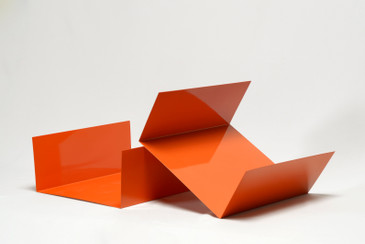 SOLD - Reclaimed 1960s Aluminum Desktop Organizer Refinished in Orange, Free U.S. Shipping