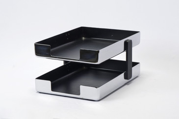 SOLD - 1970s Modern Chrome Desk Tray by Metcor Los Angeles, Free U.S. Shipping
