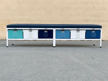 Custom Made 6 x 1 Locker Basket Unit with Padded Seat in Blues and White