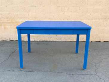 SOLD - 1960s Tanker Table by Steelcase, Refinished in Bright Blue