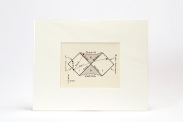 SOLD - 1960s Scientific Diagram - Singularity/ Event Horizon/ Black Hole Mounted in Window Mat, Free U.S. Shipping,