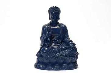 "Large Blue Lacquered Buddha ""Abhaya Mudra"" Statuette, Free U.S. Shipping"