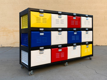 Custom 4 X 3 Locker Basket Unit on Casters with Multicolored Drawers