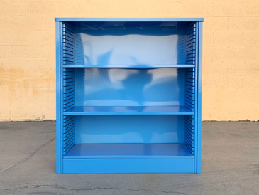 1960s Steel Tanker Style Bookcase in Bright Blue, Custom Refinished to Order
